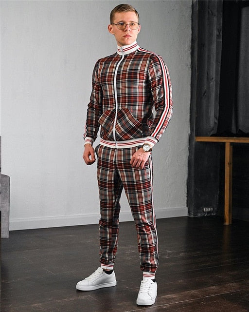 Fashion Jackets Men Tracksuit Sets Colorful Plaid Men Casual Zipper Set Autumn Tracksuit Set