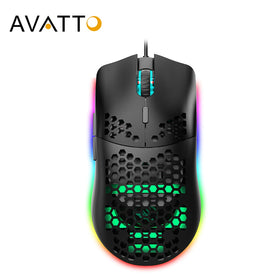 RGB USB Wired Gaming Mouse with Fast 6400 DPI, Honeycomb Hollow Ergonomic Design
