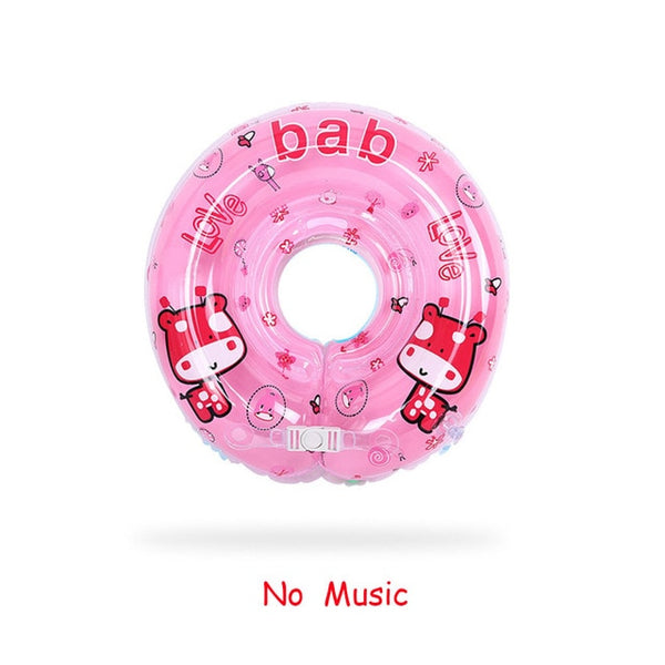 Music Baby Neck Float Swimming Newborn Baby Neck Ring Pump Swim Wheel For 0-24m Kids