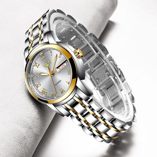 Luxury Ladies Watch Women Waterproof Rose Gold Steel Strap Women Wrist Watch
