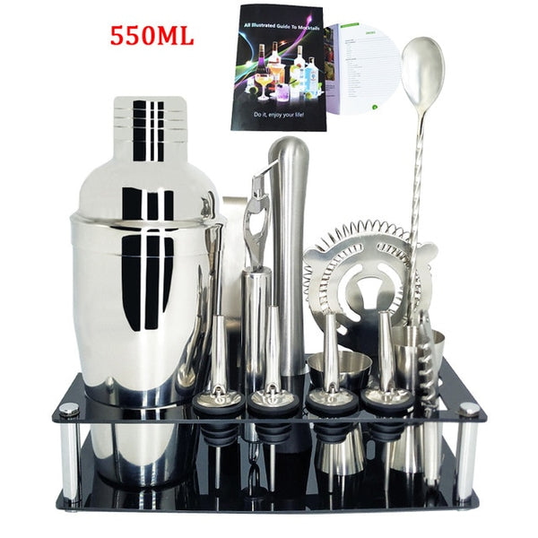 750 600ml Stainless Steel Cocktail Shaker Mixer Kit Bar Bartender Shaker Spoon