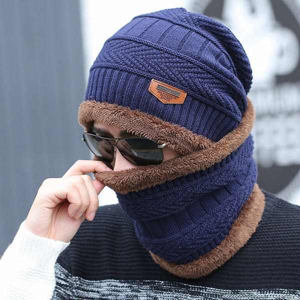 Coral Fleece Winter hat Beanies Men's Hat Scarf Warm Breathable Wool Knitted Hat For Boys