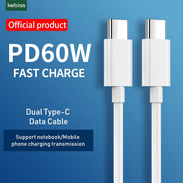 USB C to USB Type C Cable for Quick Charge  PD 60W Fast Charging for MacBook Pro