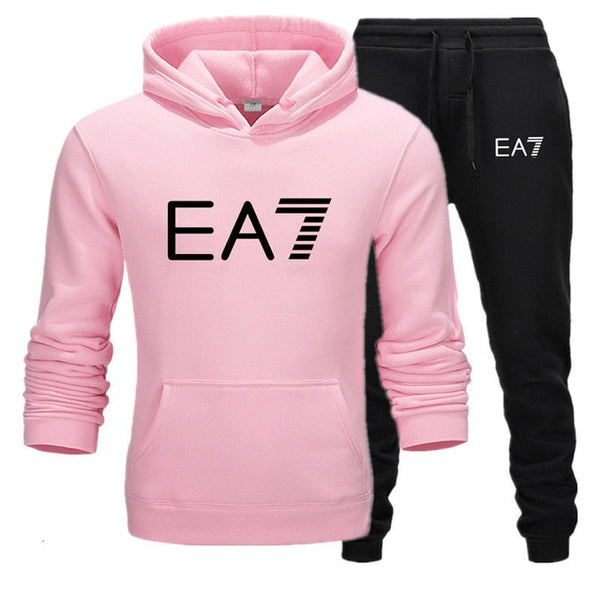 Fashion Tracksuit Men Sportswear Two Piece Sets Cotton Fleece Thick hoodie+Pants Sporting Suit printed thermal Suit