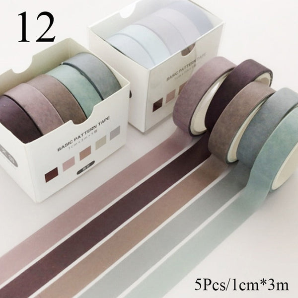 5Pcs/Set Grid Washi Tape Cute Decorative Adhesive Tape Solid Color Masking Tape