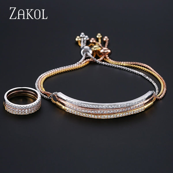 Adjustable Bracelet Ring Set for Women Captivate Bar Slider Brilliant CZ Zirconia Jewelry Pulseira Feminia