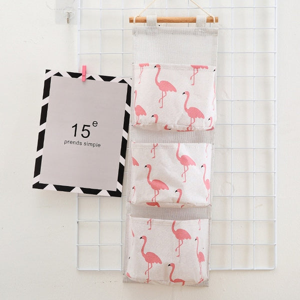 Flamingo Pattern Wall Mounted Wardrobe Organizer Sundries Storage Bag