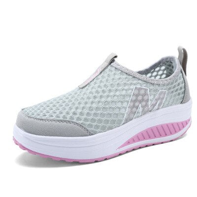 Women Casual Sneakers Fashion Height Increasing Woman Air Mesh Wedges Sneakers