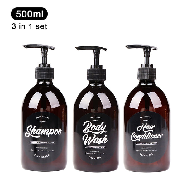 3 in 1 Set Bathroom Soap Dispenser 500ml Shampoo Body Wash Hair Conditioner Bottle