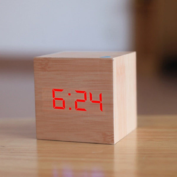 New Qualified Digital Wooden LED Alarm Clock Wood Retro Glow Clock