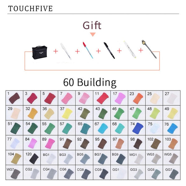 TouchFIVE 30/40/60/80/168 Color Markers Set Manga Drawing Markers Pen