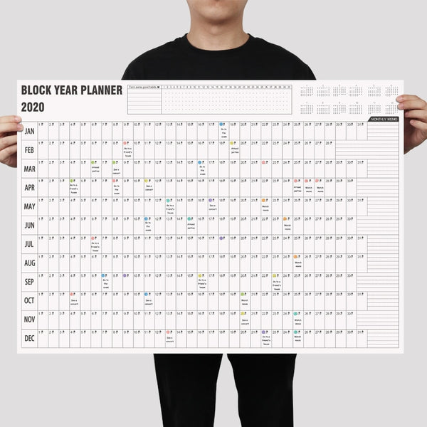2020/2021 Block Year Planner Daily Plan Paper Wall Calendar with 2 Sheet