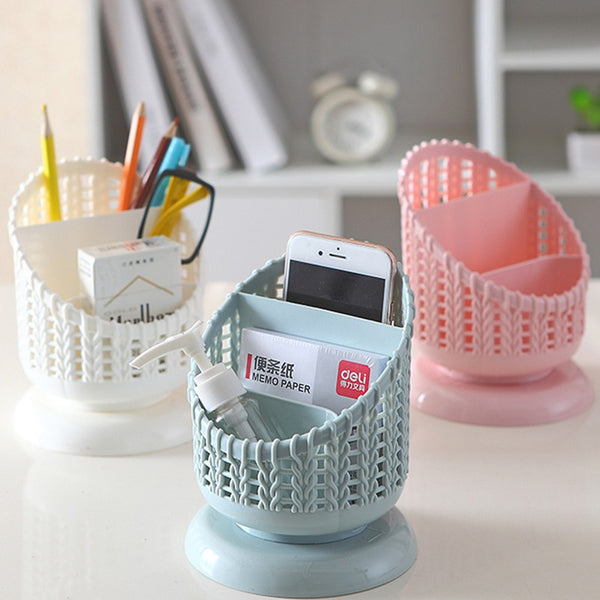 Simple Rattan Woven Hollow Plastic Pen Holder Style Multi-Function Desktop Storage Box