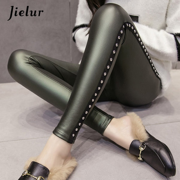 Fleece Matte PU Leather Leggings Women Fashion Rivets Push Up High Waist