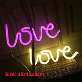 LED Neon Lights Love Shape Night Light Sign Lamp (Battery box + USB) Double Powered