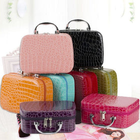 Women Beauticians Cosmetic Bags Travel Handbags PU Leather Organizer Makeup Bag