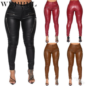 Bodycon PU Leather Pants Plain Women Solid Skinny High Waist Pencil Pants