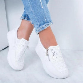 Women Crystal Sneakers Spring Autumn Casual Zipper Flat Shoes women Non-slip Breathable