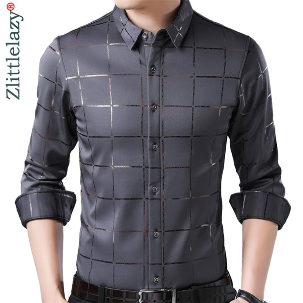 Casual Spring Luxury Plaid Long Sleeve Slim Fit Men Shirt