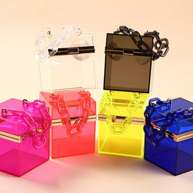 New Trend Transparent Clear Jelly Acrylic Box Handbag With Chain For Women