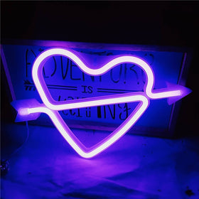 Neon Heart Shape Sign Night Lights Battery or USB Valentine's Day Gift
