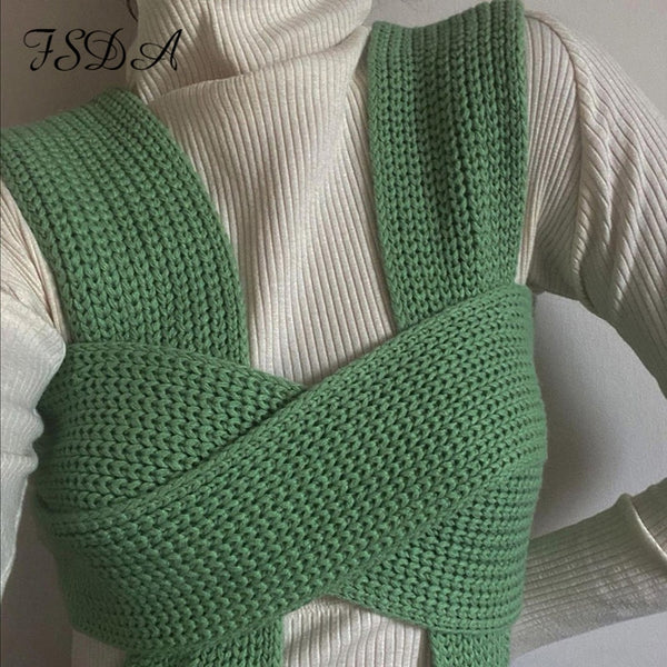 Sleeveless Knitted Crop Sweater Sexy Autumn Summer Fashion Top