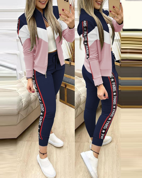 2 Piece Set Autumn Winter Zipper Jacket + Long Pants Fashion Tracksuit