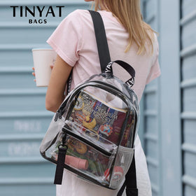 Fashion Women's Backpack New Trend Clear Solid Color PVC Waterproof Travel