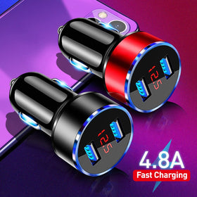 4.8A USB Phone Charger LED Display Car-Charger for Samsung iPhone 12 11 Pro 7 8 Plus