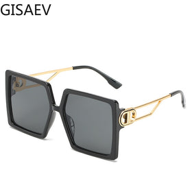 Women Oversized Square Frame Letter D Sunglasses Vintage