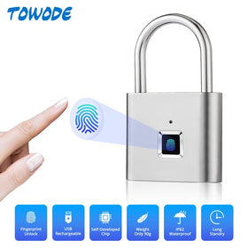 1/2Pcs Keyless USB Rechargeable Door Lock Fingerprint Smart Padlock Quick Unlock Zinc alloy Metal