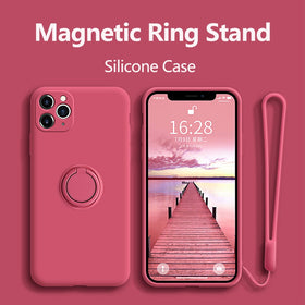 Case For iPhone 12 Pro Max Case Silicone With Ring Holder Cover For iPhone 11 12 Pro XR Max X XS Max