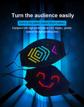 LED Face Mask Lighted Matrix Bluetooth App Controlled Wireless USB Rechargeable Battery