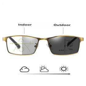 Intelligence Progressive Multifocal Reading Men Women Metal Frame Anti blue light Glasses