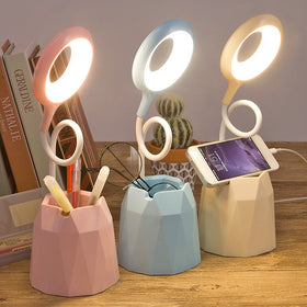Dimmable Mobile Pen Holder Lamp Multifunction LED Touch Night Light