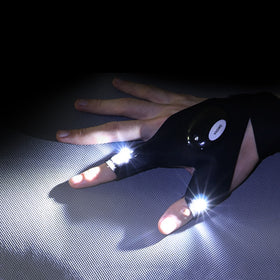 Night Light Waterproof Fishing Gloves with LED Flashlight Fingerless
