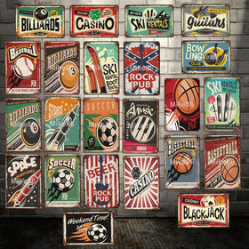 Bowling Soccer Guitars Music Sports Metal Sign Vintage Basketball Iron Painting Bar Poster 20*30 CM