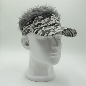 Baseball Cap Fake Flair Hair Sun Visor Hats Men's Women's Toupee Wig Funny Hair