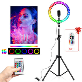 RGB Colorful LED Ring Light 10 Inch Stand 26CM Rainbow Ringlight USB With Phone Stand 16 Light Colors