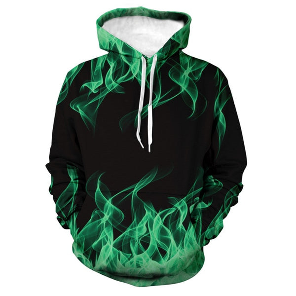 Spring Autumn Pop Sweatshirt 3d Flame Printed Men's Hoodie