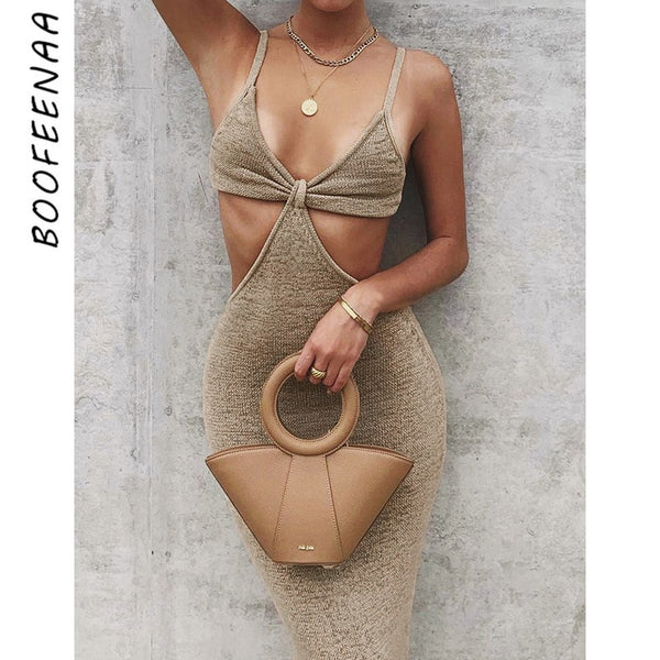 Knitted Maxi Dresses for Women Summer Elegant Sexy Party Cut Out Backless Bodycon Dress
