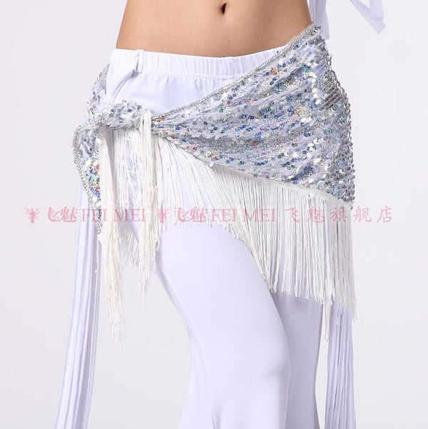 Belly Dance Costumes Mesh Sequins Tassel Belly Dance Hip Scarf