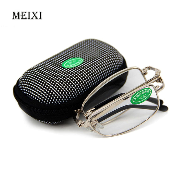 Hot Foldable Clear Men Women Reading Glasses Case with Belt Clip Presbyopic +1.0+1.5+2.0+2.5+3.0+3.5 +4.0