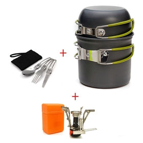 Outdoor Pot Mini Gas Stove Cookware Picnic Non-stick Bowls With Foldable Spoon Fork Knife