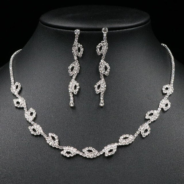 Silver Plated Crystal Bridesmaid Bridal Jewelry Sets Geometric Choker Necklace Earrings for Women Wedding