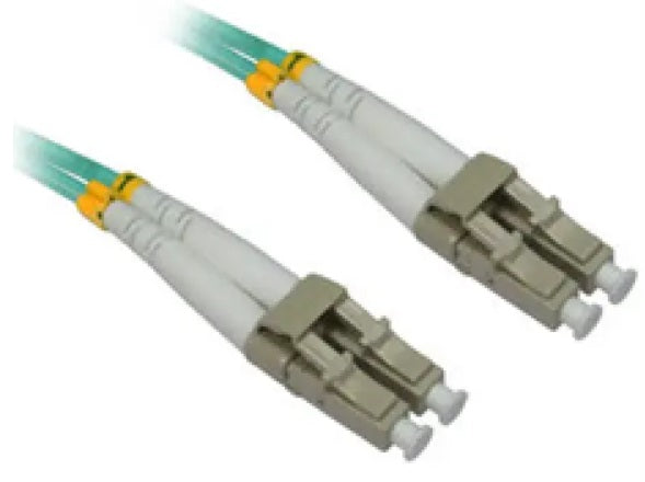 Fiber Patch Cord, OM4 LC/LC 50u aqua- 2mm LSZH,  30ft - 10m multimode duplex