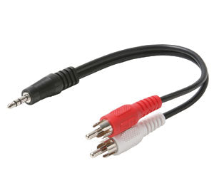 Y Adapter  6 '' 2 RCA Plugs to 3.5 Stereo Plug