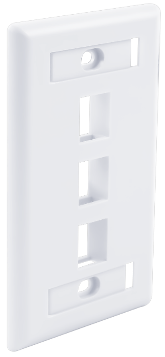 Signamax Labeled Window 3-Port Single-Gang Keystone Faceplate, White