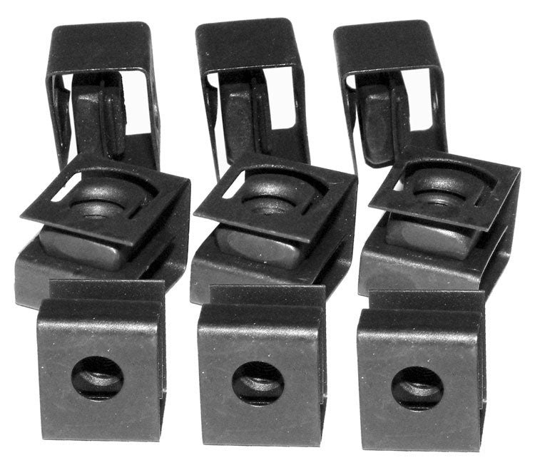Hammond, 1421N Series, 10-32 Black Round Hole Clip Nut,  100pk