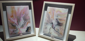 Pair of boxed Framed Artwork with Pink Quartz Crystal